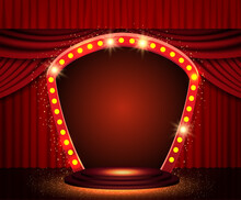 Background With Red Curtain, Podium And Retro Arch Banner. Design For Presentation, Concert, Show