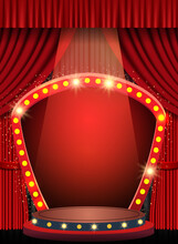 Background With Red Curtain, Arch Banner And Spotlights. Design For Presentation, Concert, Show