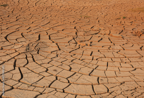 Photo Dry cracked ground filling the frame as background like a desert on sunset time