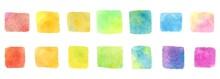 カラフルな水彩のしかく素材セット
