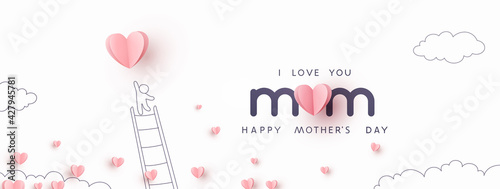 Fotografía Mother's Day postcard with pink flying elements and man on white sky background