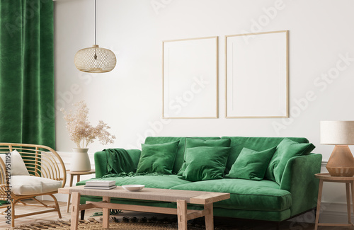 Fototapeta Home interior with poster frame mockup, green comfortable sofa on white wall with wooden furniture, 3d render obraz