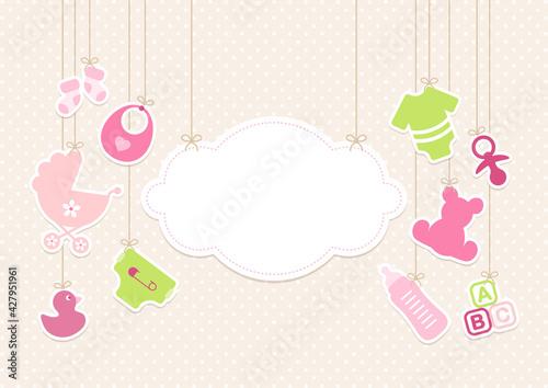 Obraz na plátně Karte Hängende Wolke Und Babysymbole Mädchen Pink Grün Punkte Beige