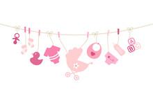 Karte Gebogene Leine Babysymbole Mädchen Pink