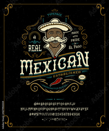 Fototapeta Font Mexican. Craft retro vintage typeface design. obraz