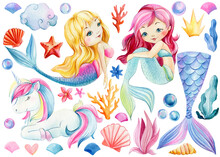 Mermaids And Unicorn On Isolated White Background. Watercolor Illustration, Childrens Poster