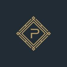 Initial P Monogram Simple Luxury Vintage Square. Logo Design Inspiration