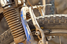 Dirty Bicycle Wheel Close Up. Old Broken Bicycle.
