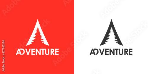 Canvas Print mountain Forrest illustration, outdoor adventure