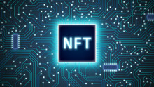 Glowing NFT Chip On Blue Cuircuit Board Background. Crypto Art Vector Illlustration. Blockchain Tech Background. Futuristic Wallpaper.  Digital Art Banner. Non Fungible Token Technology Art