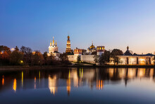View Of The Novodevichy Women's Monastery And Its Reflection In The Pond. Moscow, Russia