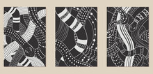 A Set Of Three Monochrome Aesthetic Backgrounds. Minimalistic Posters For Social Networks, Web Design, Interiors, Advertising. Vintage Illustrations With Snakes, Patterns, Doodles, Animals.