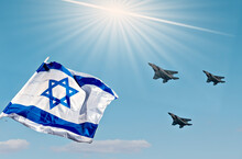 Israeli Flag And Modern Militaristic Fighter, Blue Sky Background, Independence Day Concept