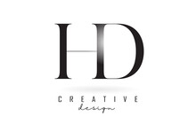 HD H D Letter Design Logo Logotype Concept With Serif Font And Elegant Style Vector Illustration.