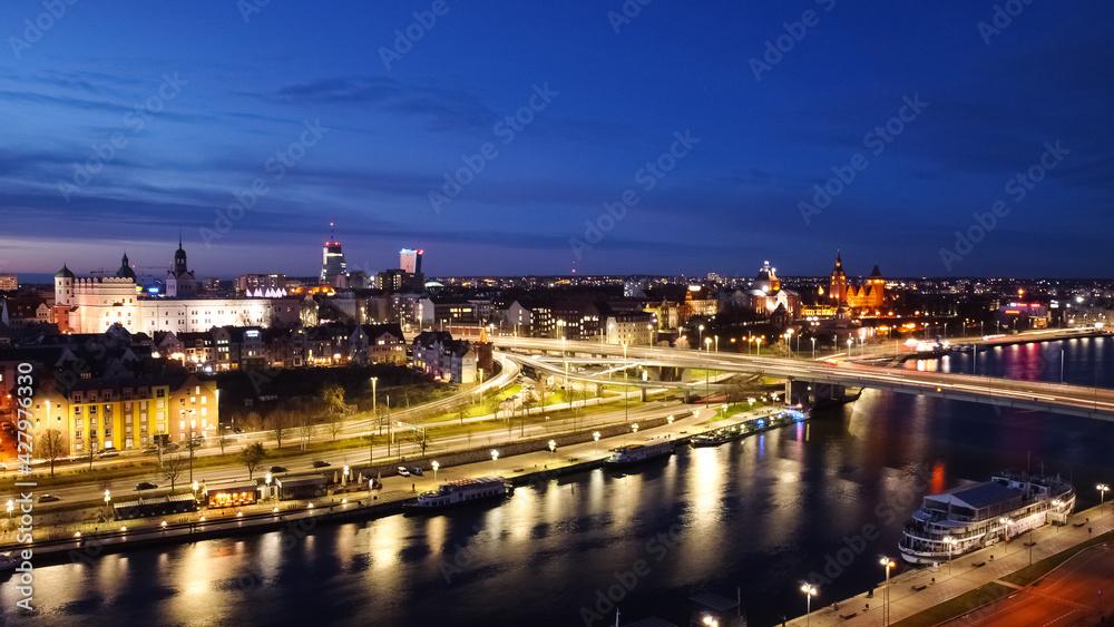 Fototapeta Szczecin z lotu ptaka Zima 2021