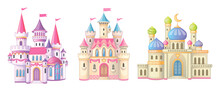 Beautiful Fairy-tale Castle For Princess. Magic Kingdom. Vintage Eastern Palace. Wonderland. Isolated Cartoon Illustration On A White Background For Stickers. Set Of Houses. Children's Theme. Vector.