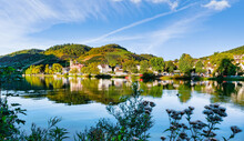 View Of The Of The Small Town Bullay Along River Moselle, Germany