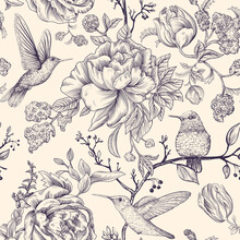 Sketch Pattern With Birds And Flowers. Monochrome Flower Design For Web, Wrapping Paper, Phone Cover, Textile, Fabric, Postcard