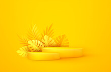 Minimal Yellow Scene With Geometric Shapes And Palm Leaves. Cylindrical Podium On A Yellow Background. 3D Stage For Displaying A Cosmetic Product