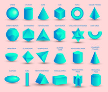 Vector Realistic 3D Blue Geometric Shapes Isolated On Pink Background. Maths Geometrical Figure Form, Realistic Shapes Model. Platon Solid. Geometric Shapes Icons For Education, Business, Design.