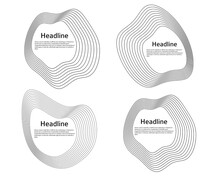 Design Elements. Circle Deformed Form Sea Shells. Set Abstract Circular Wavy Stripes Logo Element On White Background Isolated. Vector Illustration EPS 10 Wave With Lines Created Using Blend Tool