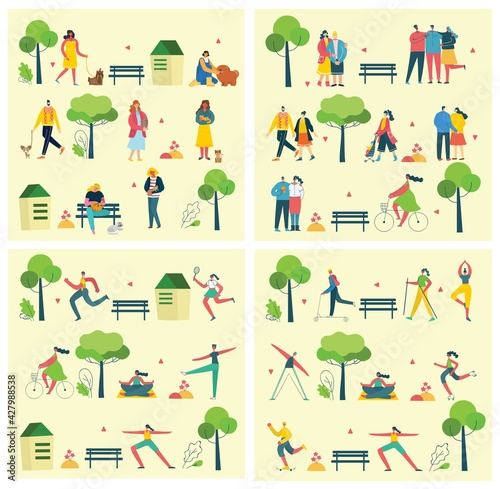 Obraz Vector illustration backgrounds of group people walking outdoor in the park on weekend - fototapety do salonu