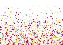 Purple Explosion Dot Illustration. Celebrate Circle Background. Red Confetti Color Decoration. Ribbon Star Background.