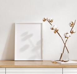 Mockup frame in cozy light minimalist living room interior close up, Scandinavian interior background, 3d render
