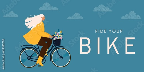 Fototapeta Cool vector character design on adult young woman riding bicycles. Stylish female hipsters on bicycle obraz