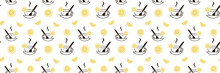 Tea Seamless Pattern With Yellow Slices Of Lemon And A Cup With A Spoon. Cute Background, Print For Menus, Dishes, Packaging, Covers, Napkins, Tablecloths, Wallpaper, Posters, Gift Cards, Banners