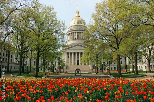 Fényképezés The West Virginia State Capitol looks beautiful surrounded by spring tulips in Charleston
