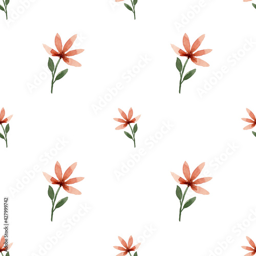 Slika na platnu Watercolor pattern, spring floral pattern with flowers in warm orange tones on a white background, pattern for various uses for fabric, clothing, paper, etc