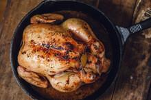 Roast Chicken In A Cast Iron Pan