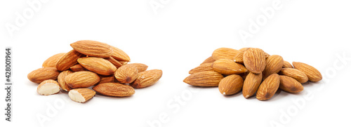 Heap of almond nuts isolated on white background - fototapety na wymiar