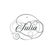 """English Calligraphy """"Julia"""" Name, A Unique Hand Drawn Vector Design For Wedding And More."""