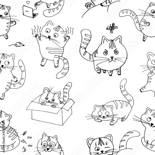 Pattern Funny cat. Children's Illustration. Funny kitty.