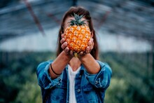 Midsection Of Woman Holding A Pineapple On Field