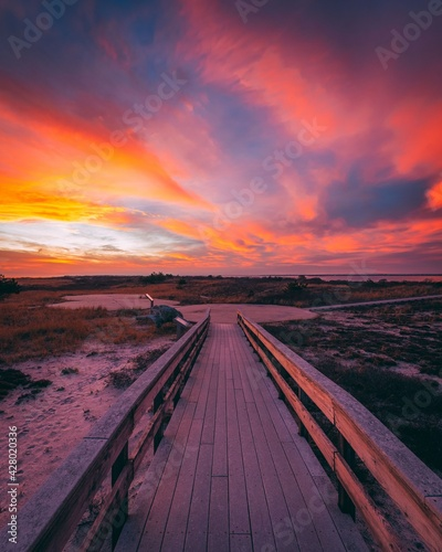 Papel de parede Trail on the beach at sunset, at Smith Point, Fire Island, New York