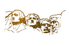 Mount Rushmore Vector Illustration - Hand Drawn - Out Line