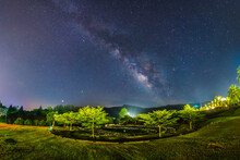 The Milky Way On The Top Camping Ground On The Hill.