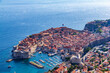 View from top of mountain near Dubrovnik over Old City over Dubrovnik, Croatia during sunny summer day.