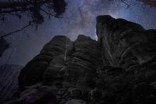 Gebirge Bei Nacht Mit Sternenhimmel