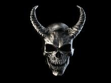 Heavy Metal Demon Skull With Horns With Sharp Teeth