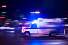 An Ambulance Races To Respond To The Scene Of An Emergency.