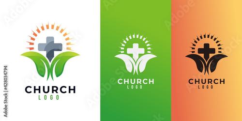 Obraz na plátne church logo icon vector isolated