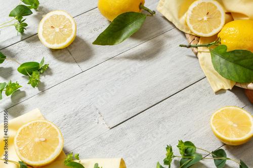 Obraz na płótnie レモン 爽やかなフルーツと植物の背景