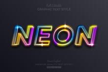 Rainbow Neon Editable Text Effect Font Style