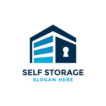 Self Storage Logo Design Template. Safe Storage Garage Vector Illustration. With Concept Of Padlock And Garage Symbol Combination.