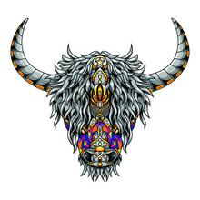 Highland Cow Mandala Zentangle Illustration Tshirt Design