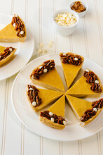 Dulche De Leche And White Chocolate Cheesecake Sliced